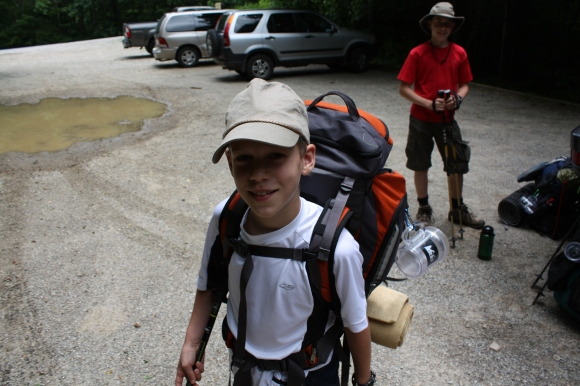 Jonathan heading out with his pack