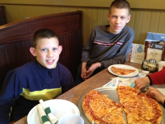 My boys trying out the NH pizza